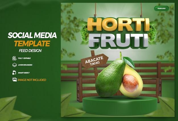 Publier la composition d'épicerie d'étiquette 3d sur les médias sociaux pour la campagne de supermarché en portugais