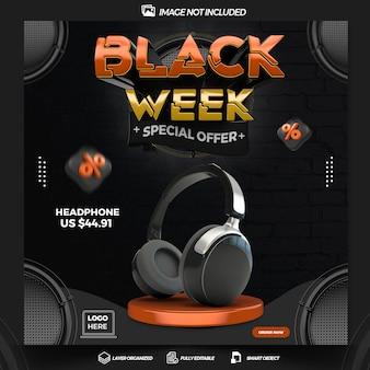 Publier la conception de modèle de rendu 3d de la semaine noire des médias sociaux