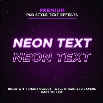 Purple glowing neon text effects