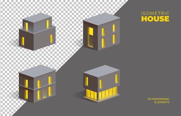 Quatre éléments isolés de rendu 3d isométrique de maisons