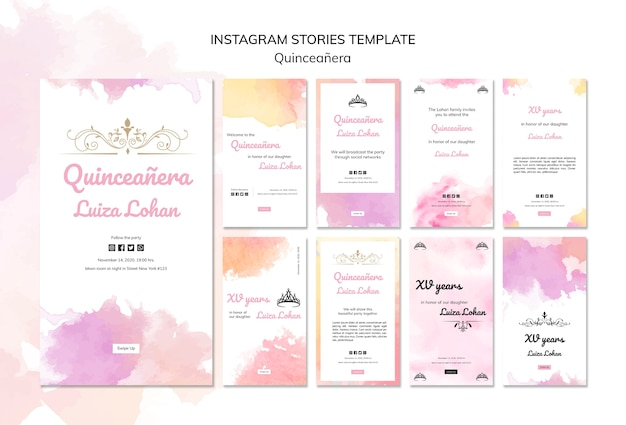 Quinceanera party instagram stories template set