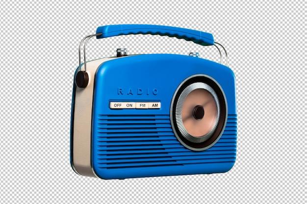 Radio vintage bleue isolée