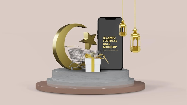 Ramadan eid sale rendu 3d isolé avec maquette de smartphone