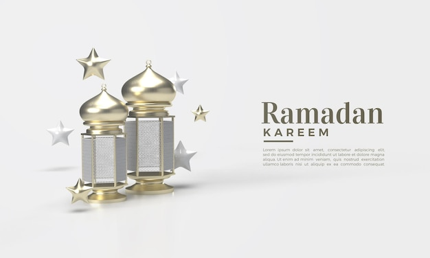 Ramadan kareem 3d avec illustration de lampe or fantaisie