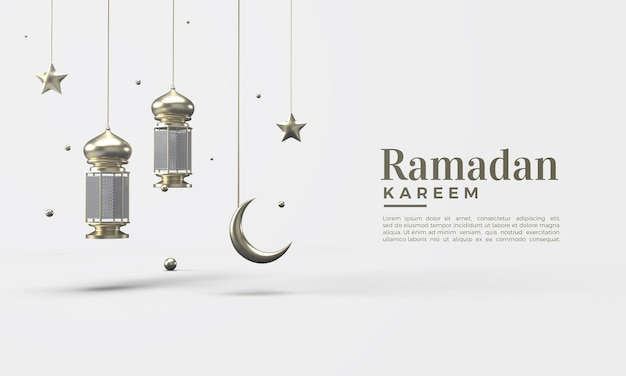 Ramadan kareem 3d avec lumières dorées et lune étoile dorée