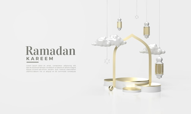 Ramadan kareem 3d render avec illustration de nuages et de lumières suspendues