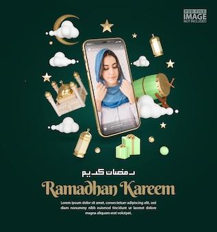 Ramadan kareem islamique saluant la maquette de la publication des médias sociaux