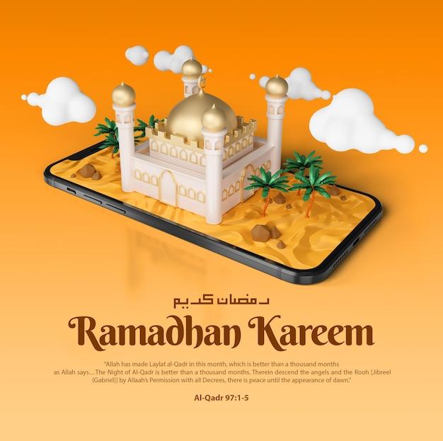 Ramadan kareem islamique saluant le post instagram des médias sociaux et la bannière avec le modèle d'illustration 3d