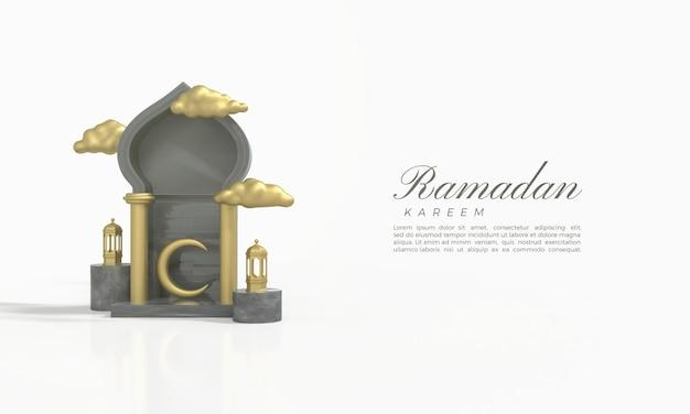 Ramadan kareem rendu 3d avec une illustration d'un croissant de lune à l'intérieur de la salle