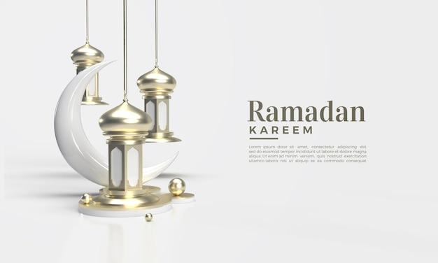 Ramadan kareem rendu 3d avec lustre classique et croissant de lune