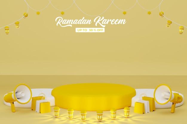 Ramadan kareem vente fond de bannière de rendu 3d