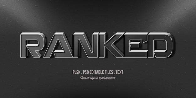 Rangked 3d maquette d'effet de style de texte