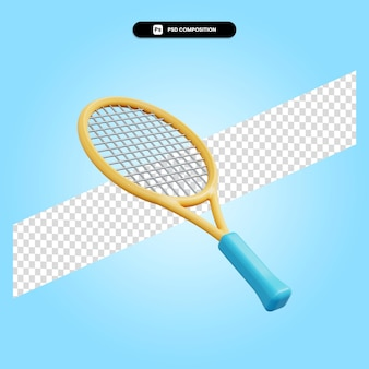 Raquette de tennis rendu 3d illustration isolé
