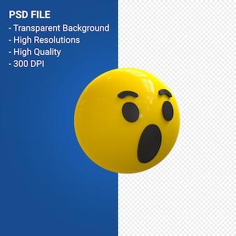 Réactions emoji 3d de facebook wow, comme isolé