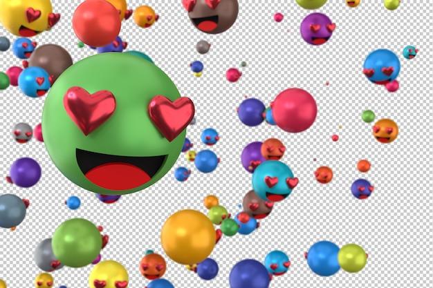 Les réactions de facebook adorent le rendu 3d d'emoji sur un symbole de ballon de médias sociaux transparent avec coeur
