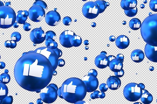 Réactions facebook comme rendu 3d emoji, symbole de ballon de médias sociaux avec comme