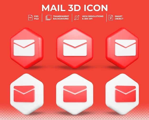 Réaliste 3d email symbole isolé icône 3d