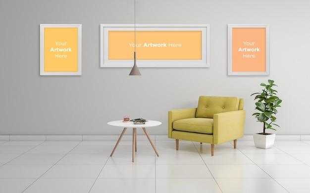 Réaliste 3d rendu trois conception de maquette de cadre photo vide
