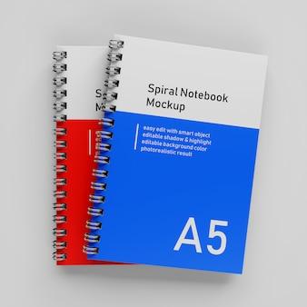 Réaliste empilé double entreprise a5 reliure spirale relié bloc-notes modèle de conception maquette en vue de dessus