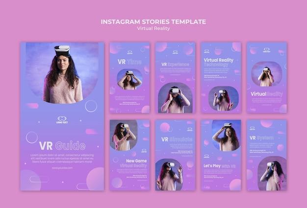 La réalité virtuelle joue ensemble des histoires instagram