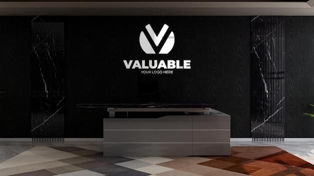 Réceptionniste de bureau ou salle de réception pour la maquette du logo du mur de l'entreprise