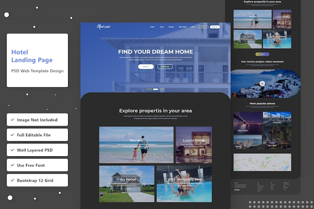 Rechercher la page de destination web de la version sombre de l'hôtel