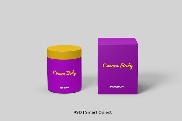 Récipient de crème cosmétique et maquette d'emballage