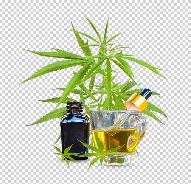 Récipient d'huile essentielle de cannabis avec feuille isolée premium psd