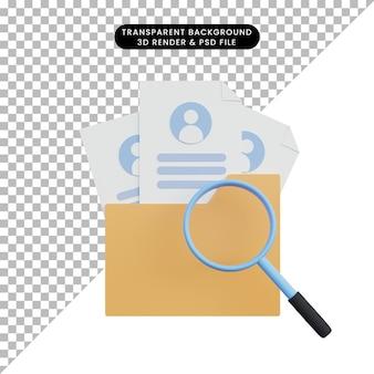 Recrutement d'illustration 3d avec fichier de dossier et magnifyng