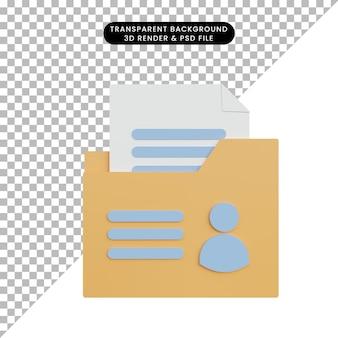 Recrutement d'illustration 3d avec icône de dossier et cv de quelqu'un