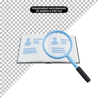 Recrutement d'illustration 3d avec livre et loupe