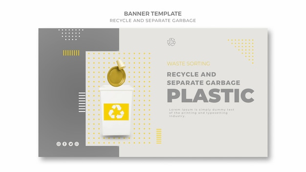 Recycler et séparer la bannière des ordures
