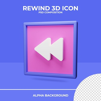 Rembobiner le rendu d'icône de rendu 3d
