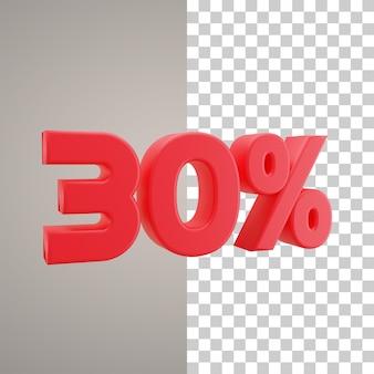 Remise d'illustration 3d 30 pour cent