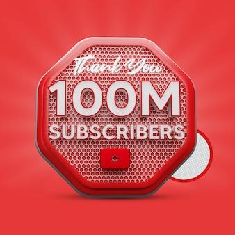 Rendu 3d de 100 millions d'abonnés
