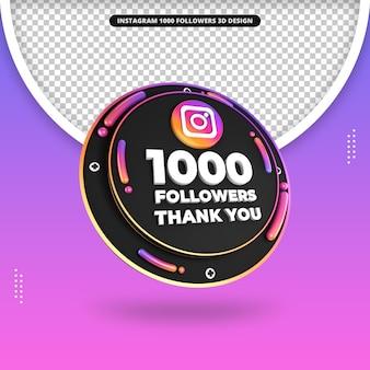 Rendu 3d de 1000 abonnés sur la conception d'instagram