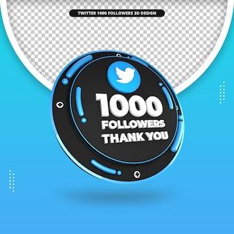 Rendu 3d de 1000 abonnés sur la conception de twitter