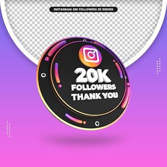Rendu 3d 20k adeptes sur la conception d'instagram