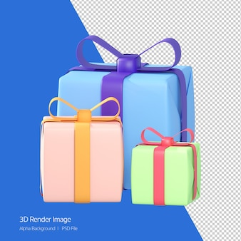 Rendu 3d de 3 coffrets cadeaux, cadeau coloré isolé sur blanc.
