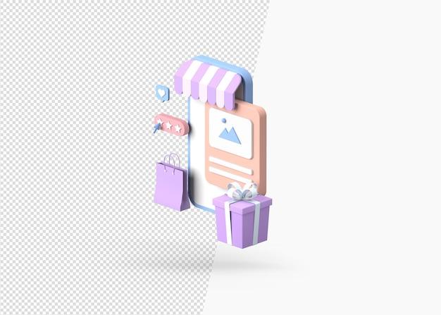 Rendu 3d des achats de commerce électronique en ligne sur la boutique mobile