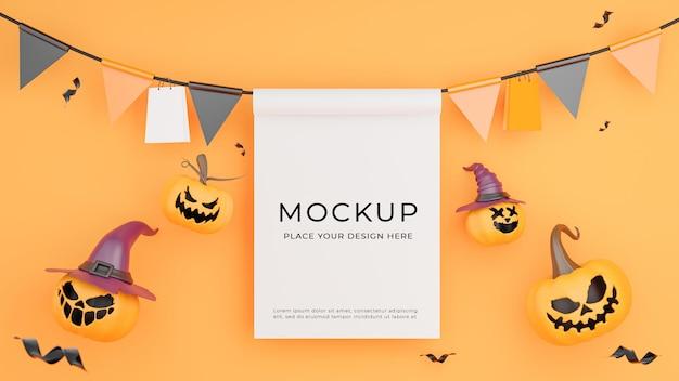 Rendu 3d d'une affiche blanche avec un concept de magasinage d'halloween