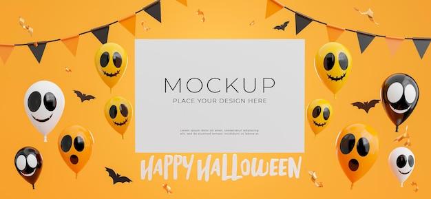 Rendu 3d d'une affiche ou d'un cadre avec un joyeux concept d'halloween pour l'affichage de votre produit