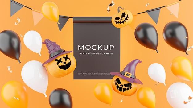 Rendu 3d de l'affiche avec le concept de magasinage d'halloween pour l'affichage du produit