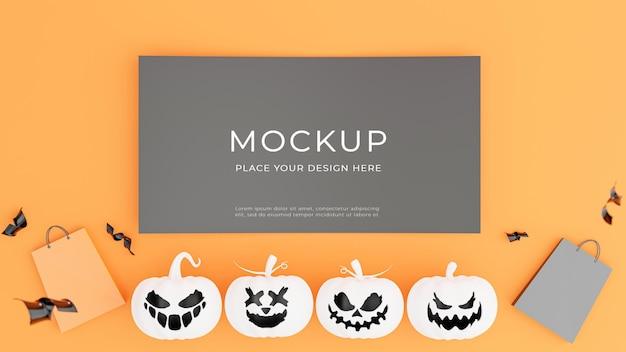Rendu 3d d'une affiche noire avec un concept de shopping halloween