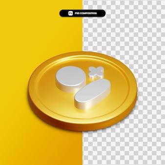 Le rendu 3d ajoute l'icône de l'utilisateur sur le cercle doré isolé