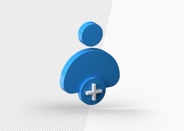 Rendu 3d ajouter l'icône de contact avec la couleur bleue isolée
