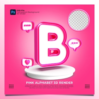 Rendu 3d de l'alphabet féminisme b avec la couleur rose et les éléments