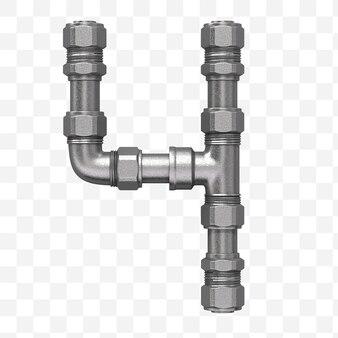 Rendu 3d de l'alphabet industriel numéro 4 fait de conduite d'eau en fer isolée