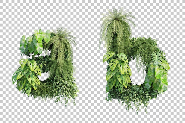 Rendu 3d de l'alphabet de jardin vertical a et l'alphabet b