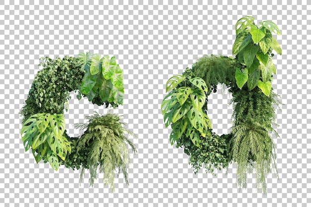 Rendu 3d de l'alphabet de jardin vertical c et l'alphabet d